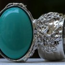Arty Oval Ring Green Teal Silver Knuckle Art Chunky Artsy Armor Avant Garde Statement Size 8.5