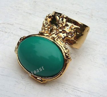 Arty Oval Ring Green Teal Gold Knuckle Art Chunky Artsy Armor Avant Garde Statement Size 8.5