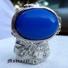 Arty Oval Ring Royal Blue Silver Knuckle Art Chunky Artsy Armor Avant Garde Statement Size 5
