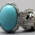 Arty Oval Ring Blue Marble Vintage Swirl Silver Knuckle Art Armor Avant Garde Statement Size 10