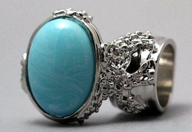 Arty Oval Ring Blue Marble Vintage Swirl Silver Knuckle Art Armor Avant Garde Statement Size 10