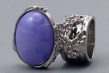 Arty Oval Ring Purple Marble Vintage Swirl Silver Knuckle Art Armor Avant Garde Statement Size 10