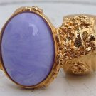 Arty Oval Ring Purple Marble Vintage Swirl Gold Knuckle Art Armor Avant Garde Statement Size 4.5