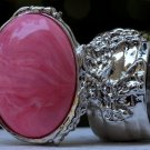 Arty Oval Ring Pink Marble Vintage Swirl Silver Knuckle Art Armor Avant Garde Statement Size 8.5