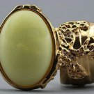 Arty Oval Ring Yellow Silky Matte Vintage Swirl Gold Knuckle Art Avant Garde Statement Size 4.5