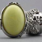 Arty Oval Ring Yellow Silky Matte Vintage Swirl Silver Knuckle Art Avant Garde Statement Size 8.5