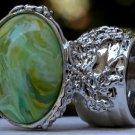 Arty Oval Ring Green Yellow Swirl Silver Vintage Knuckle Art Avant Garde Artsy Statement Size 8