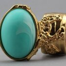 Arty Oval Ring Seafoam White Matte Swirl Gold Knuckle Art Avant Garde Chunky Statement Size 5.5