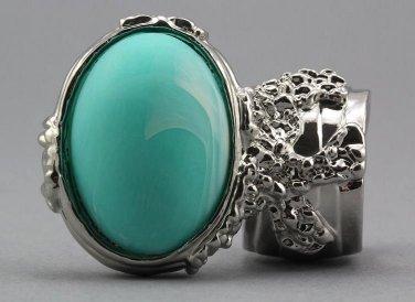 Arty Oval Ring Seafoam White Matte Swirl Silver Knuckle Art Avant Garde Chunky Statement Size 5