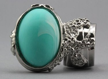 Arty Oval Ring Seafoam White Matte Swirl Silver Knuckle Art Avant Garde Chunky Statement Size 8