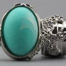 Arty Oval Ring Seafoam White Matte Swirl Silver Knuckle Art Avant Garde Chunky Statement Size 8.5