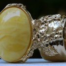 Arty Oval Ring Yellow Marble Swirl Gold Vintage Knuckle Art Avant Garde Chunky Statement Size 8.5