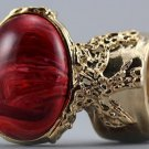 Arty Oval Ring Red Marble Swirl Gold Vintage Knuckle Art Avant Garde Chunky Statement Size 4.5