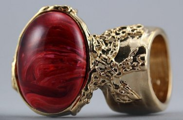 Arty Oval Ring Red Marble Swirl Gold Vintage Knuckle Art Avant Garde Chunky Statement Size 5.5