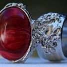 Arty Oval Ring Red Marble Swirl Silver Vintage Knuckle Art Avant Garde Chunky Statement Size 10