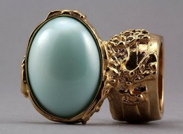 Arty Oval Ring Mint Pearl Gold Vintage Knuckle Art Avant Garde Designer Chunky Statement Size 4.5