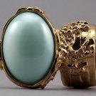 Arty Oval Ring Mint Pearl Gold Vintage Knuckle Art Avant Garde Designer Chunky Statement Size 5.5