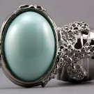 Arty Oval Ring Mint Pearl Silver Vintage Knuckle Art Avant Garde Designer Chunky Statement Size 8.5