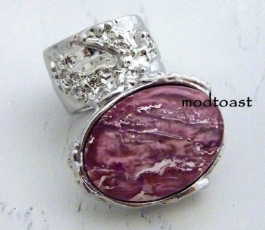 Arty Oval Ring Rose Metallic Iridescent Pink Silver Vintage Knuckle Art Deco Statement Size 8.5