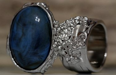Arty Oval Ring Blue Brown Black Marble Swirl Silver Vintage Knuckle Art Deco Statement Size 5