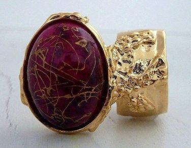 Arty Oval Ring Hot Pink Gold Drizzle Knuckle Art Deco Avant Garde Designer Chunky Statement Size 8
