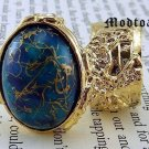 Arty Oval Ring Blue Gold Drizzle Knuckle Art Deco Avant Garde Designer Chunky Statement Size 5.5