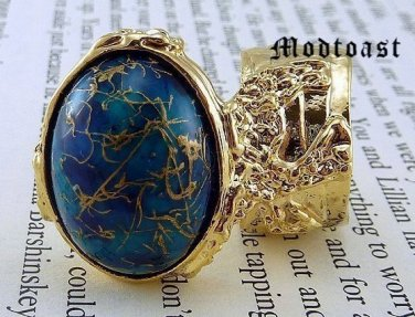 Arty Oval Ring Blue Gold Drizzle Knuckle Art Deco Avant Garde Designer Chunky Statement Size 6