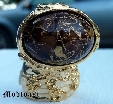 Arty Oval Ring Brown Gold Drizzle Knuckle Art Deco Avant Garde Designer Chunky Statement Size 10