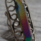 Titanium Rainbow Crystal Druzy Quartz Point Swirl Ring Antique Silver Adjustable Boho Statement OOAK