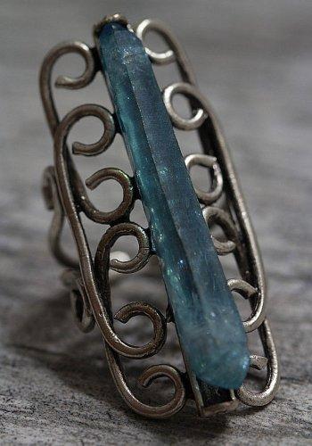 Aqua Aura Druzy Crystal Quartz Point Swirl Ring Antique Silver Adjustable Boho Gypsy Statement OOAK