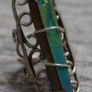 Titanium Rainbow Druzy Wire Wrapped Ring Crystal Quartz Point Swirl Silver Adjustable Boho OOAK