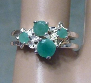 Emerald & 925 Sterling Silver Womens Ring Gemstone Birthstone Floral Shapes Size 7.75