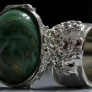 Arty Oval Ring Green Swirl White Gold Silver Chunky Knuckle Art Avant Garde Statement Size 8.5