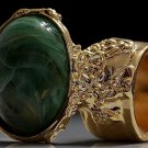 Arty Oval Ring Green Swirl White Gold Chunky Knuckle Art Avant Garde Statement Jewelry Size 4.5