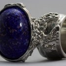 Arty Oval Ring Lapis Dark Blue Vintage Glass Gold Flecks Silver Chunky Knuckle Art Size 8.5