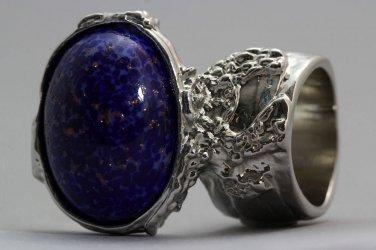 Arty Oval Ring Lapis Dark Blue Vintage Glass Gold Flecks Silver Chunky Knuckle Art Size 9