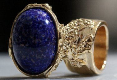 Arty Oval Ring Lapis Dark Blue Vintage Glass Gold Flecks Chunky Knuckle Art Statement Size 9