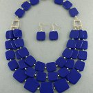 Blue Tiles Necklace & Earrings Set Long Layered Beads Gold Crystal Accents Chunky Statement