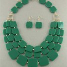 Green Tiles Necklace & Earrings Set Long Layered Beads Gold Crystal Accents Chunky Statement