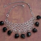 Skull Necklace Black Silver Day of the Dead Dia de Los Muertos Carved Stone Statement Boho Tribal
