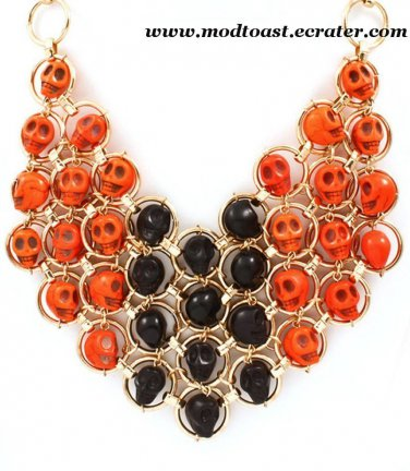 Skull Bib Necklace Orange Black Gold Statement Day of the Dead Dia de Los Muertos