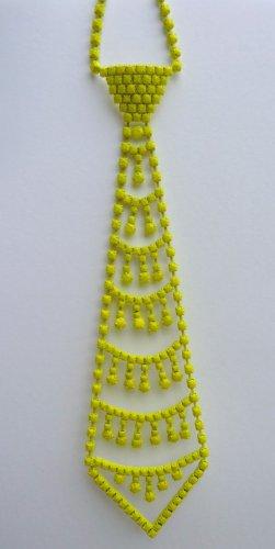 Neon Rhinestones Tie Necklace Woman Chain Metal Large Necktie Jewelry