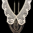 Lace Collar Necklace & Earrings Set Multi Draping Gold Chains Ivory Fabric