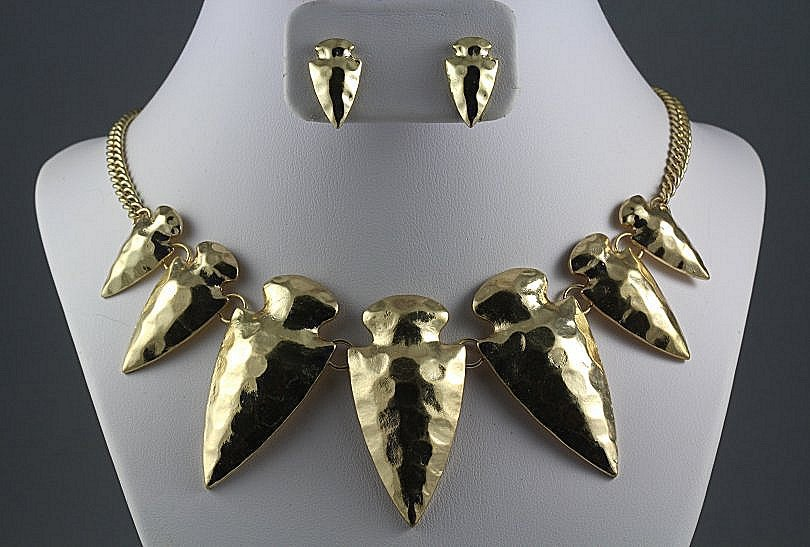 Arrow Necklace & Earrings Set Hammered Metal Spikes Arrowheads Boho Tribal Gold Statement