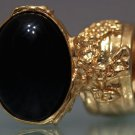Arty Oval Ring Black Gold Knuckle Art Chunky Artsy Armor Avant Garde Jewelry Statement Size 4.5