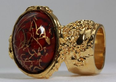 Arty Oval Ring Red Wine Gold Drizzle Knuckle Art Deco Avant Garde Designer Chunky Statement Size 10