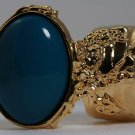 Arty Oval Ring Dark Teal Gold Knuckle Art Chunky Artsy Armor Deco Avant Garde Statement Size 4.5