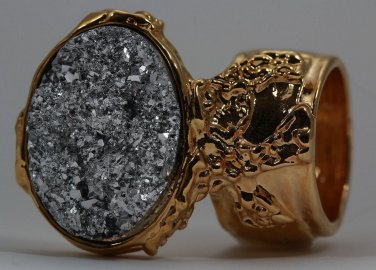 Arty Oval Ring Druzy Style Silver Gold Artsy Designer Chunky Deco Knuckle Art Statement Size 6
