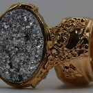 Arty Oval Ring Druzy Style Silver Gold Artsy Designer Chunky Deco Knuckle Art Statement Size 10