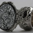 Arty Oval Ring Druzy Style Silver Artsy Designer Chunky Deco Knuckle Art Statement Size 6